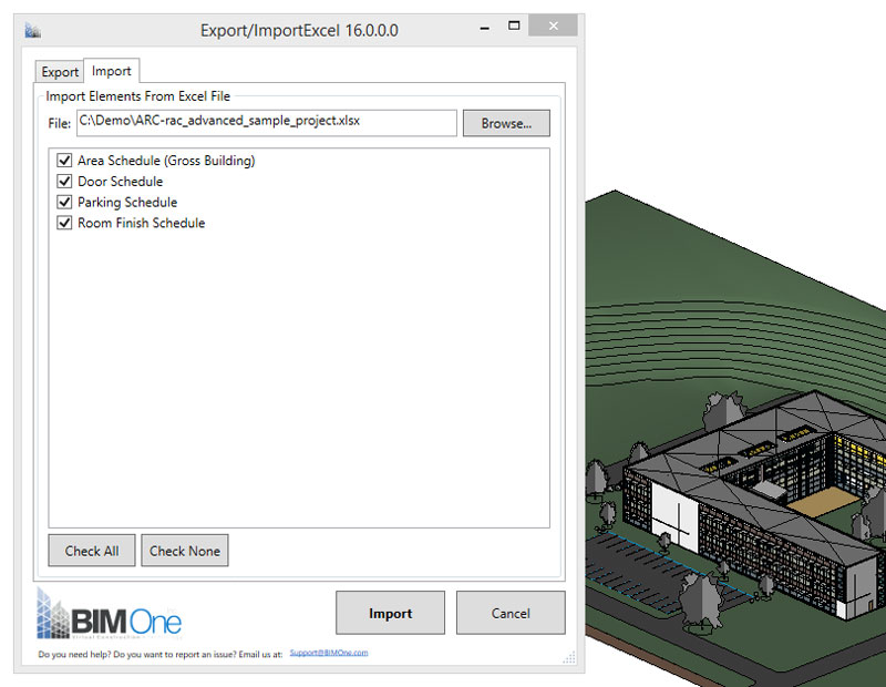 Import/Export Excel BIM One