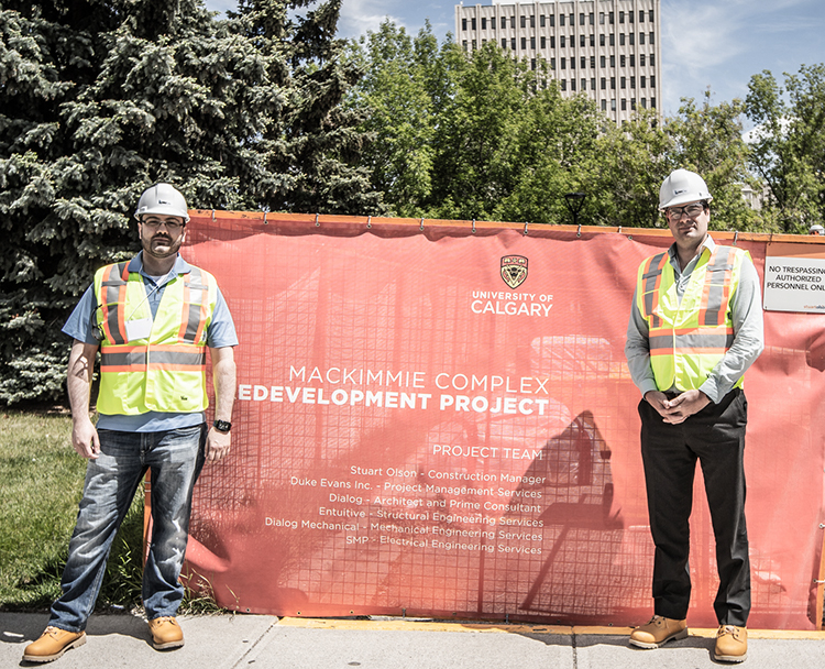Tarek Ghazzaoui, left, and Jean-François Lapointe, right, at the University of Calgary Mackimmie Complex Redevelopment Project in Calgary.