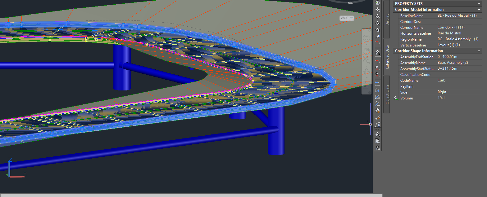 3D view of a model in the AutoCAD Civil3D interface.