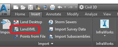 LandXML format import options in Autodesk Civil3D.