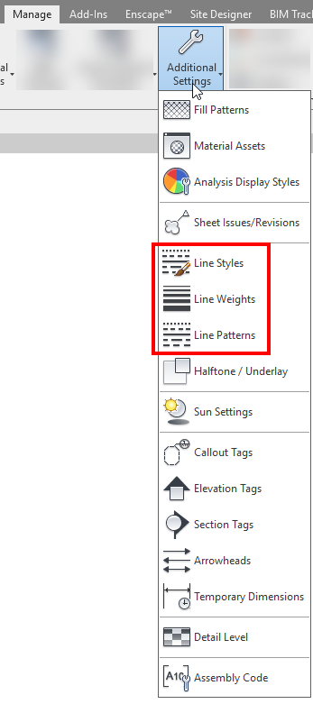 Line Styles, Line weights and line patterns, (all the lines in Revit) are governed by these 3 settings. It is therefore recommended to configure them first and in a logical way using naming convention that can be continually improved upon.