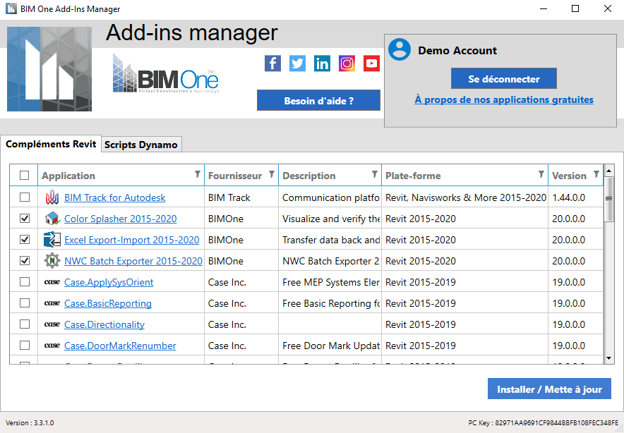 BIM One addon manager